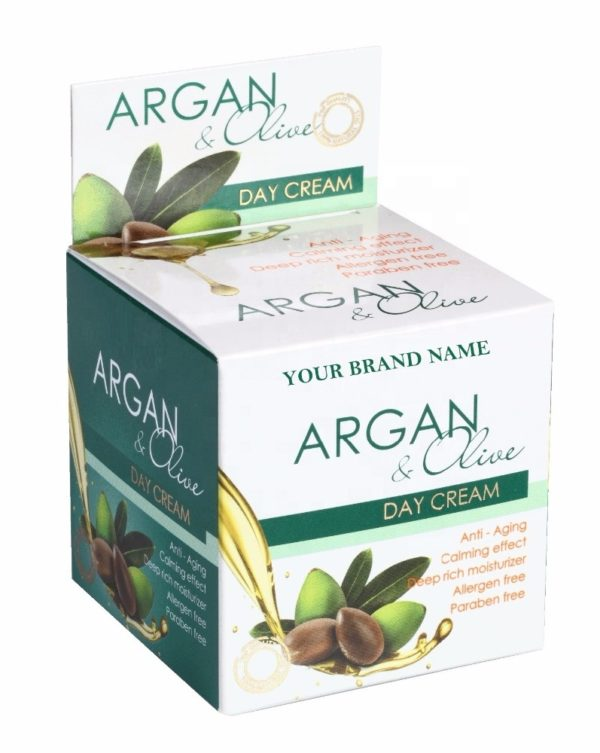 Anti-Aging Day Face Cream Argan and Olive Paraben Free Private Label Available   Wholesale   White Label