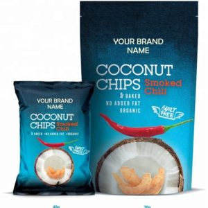 Coconut Chips With Chili Vegan And Gluten Free Certified Organic | Wholesale | Private Label | Made In EU