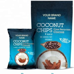 Coconut Chips With Cocoa Vegan And Gluten Free Certified Organic | Wholesale | Private Label | Made In EU
