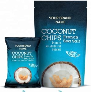 Coconut Chips With French Sea Salt Vegan And Gluten Free Certified Organic | Wholesale | Private Label | Made In EU