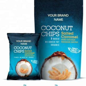 Coconut Chips With Salted Caramel Vegan And Gluten Free Certified Organic | Wholesale | Private Label | Made In EU