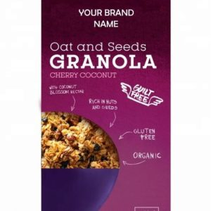 Crunchy Granola With Cherry And Coconut Instant Breakfast Cereal Vegan And Gluten free Certified Organic | Private Label