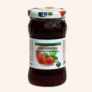 Strawberry Jam With Fruit Pieces - 360 g. 40% Fruit Content Private Label | Wholesale | Bulk | Made In EU