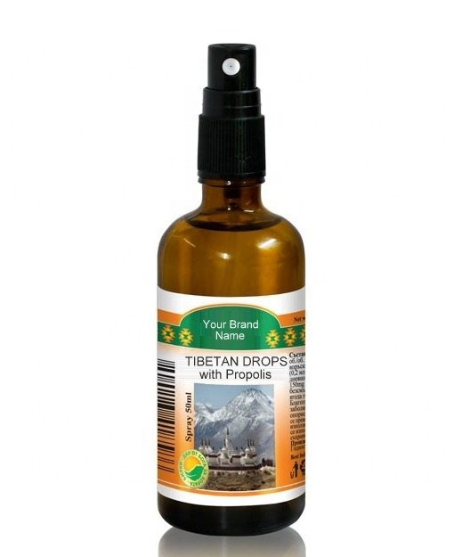 Tibetan Drops Throat Spray With Propolis 100% Natural Product Private Label   Wholesale